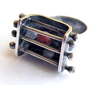 Ring | Ed Wiener.  Sterling silver and glass beads.  ca. 1950
