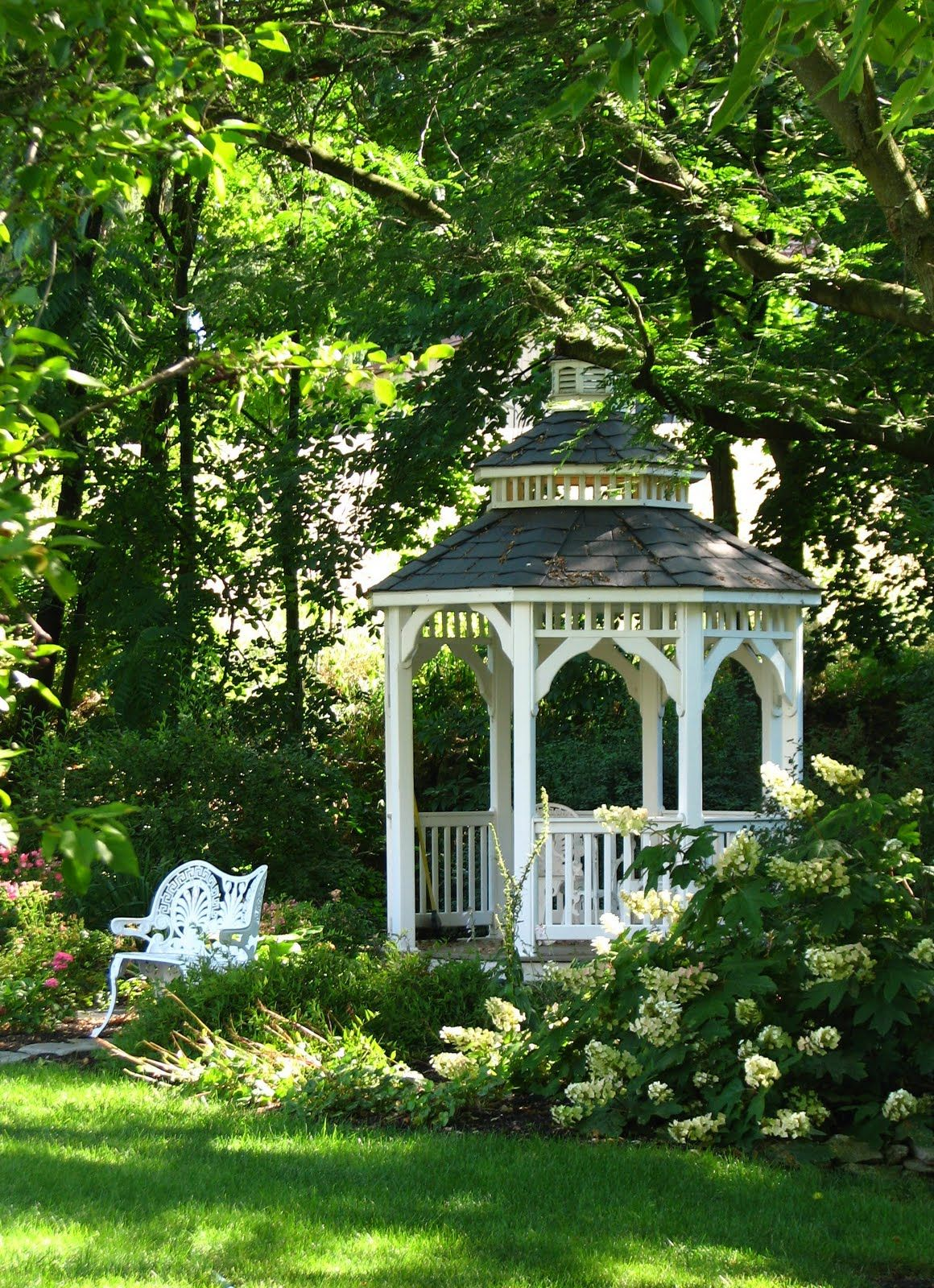 White Gazebo with white planting ~ Nice in moonlight too