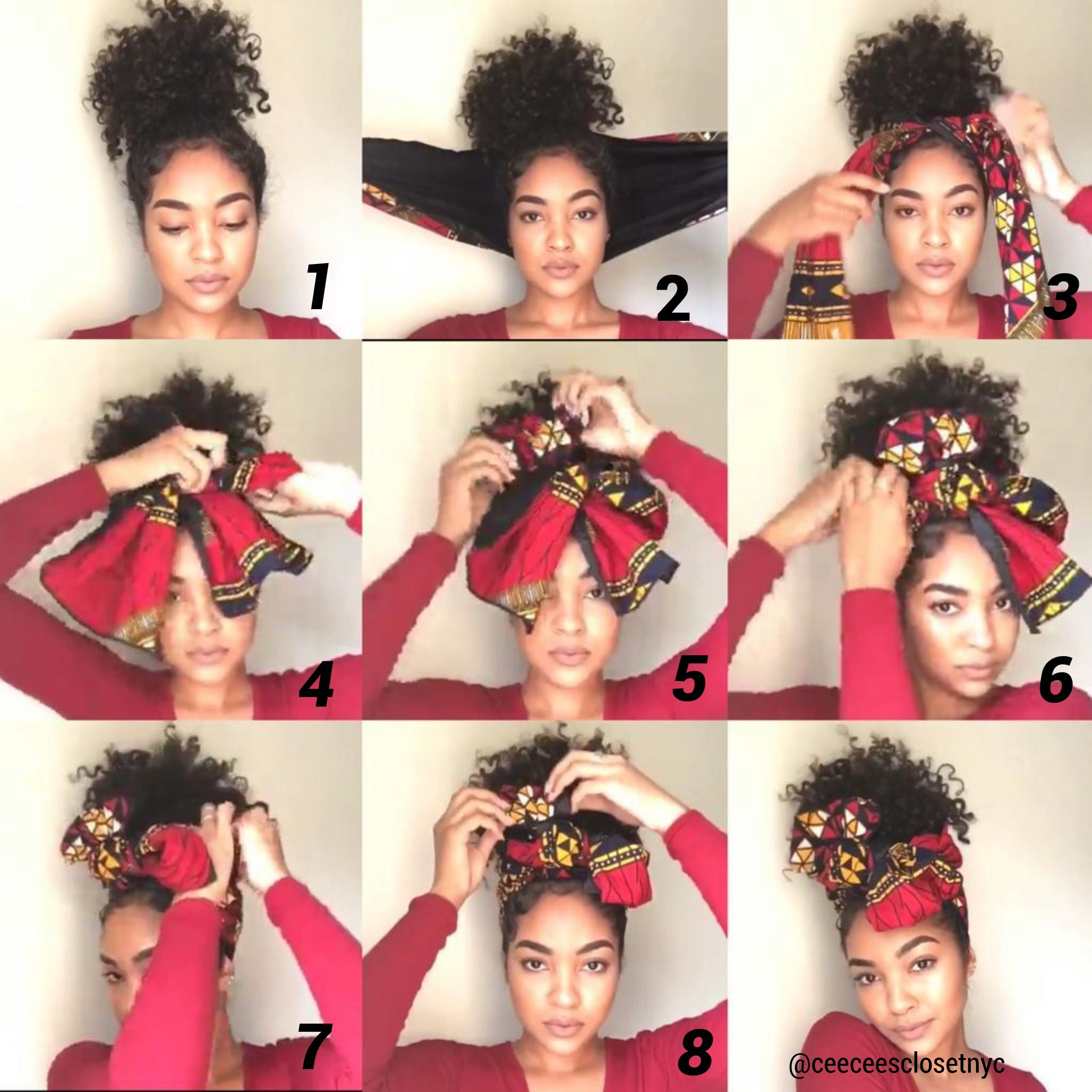 Quick And Easy Hot Red Silk Lined Head Wrap Tutorial Headwrap Hairstyles Scarf Hairstyles Natural Hair Styles
