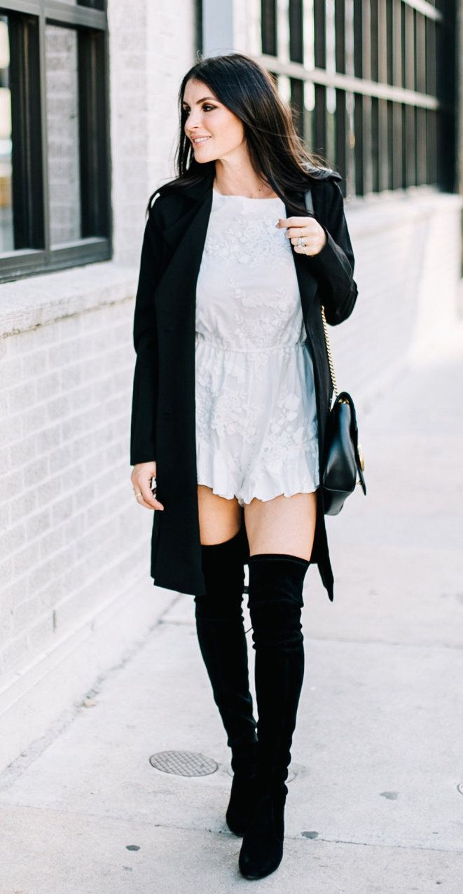 Winter Outfits White Mini Dress Pair Of Black Suede Thigh High Boots Black Open Cardigan Outfit Winter Outfits Trendy Summer Outfits Sweater Fashion [ 1276 x 661 Pixel ]