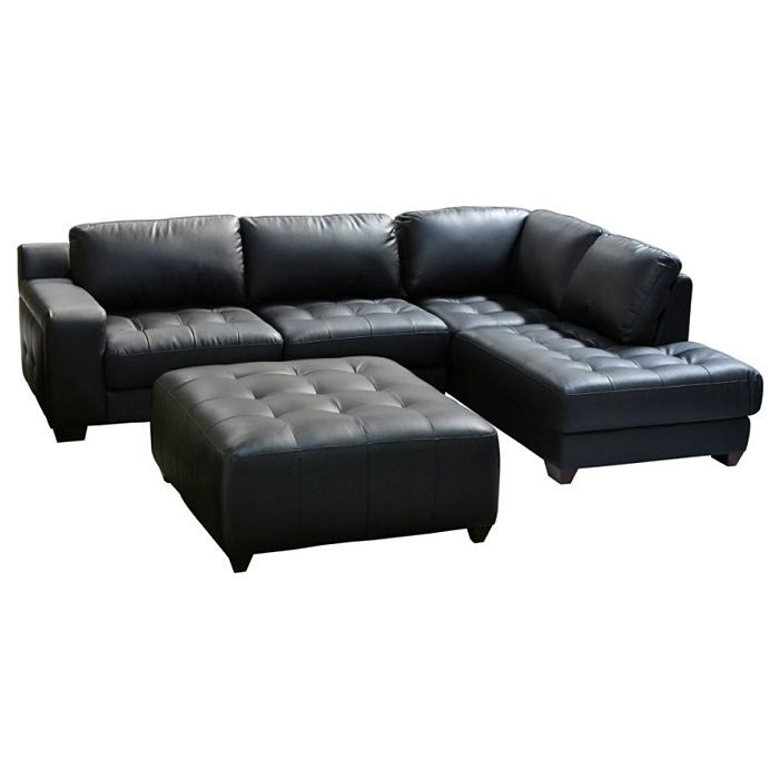 laredo chaise sectional sofa and ottoman set black leather