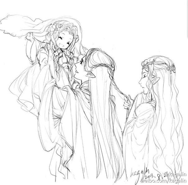 Royal Family of Lothlórien. Galadriel, Celeborn and little Celebrían ...