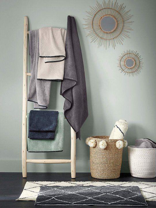 Miroir rotin rond soleil tapis de bain croisillons échelle porte