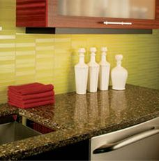 Kitchen Backsplash Yellow kitchen backsplash in narrow chartreuse yellow green glass subway