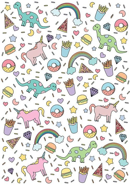 Cute Unicorn Dinosaur Rainbow Donuts Stars Pizza Burger French Fries