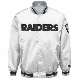 low priced a31ed b08b6 Oakland Raiders Starter Closer White Satin Jacket - Click to ...
