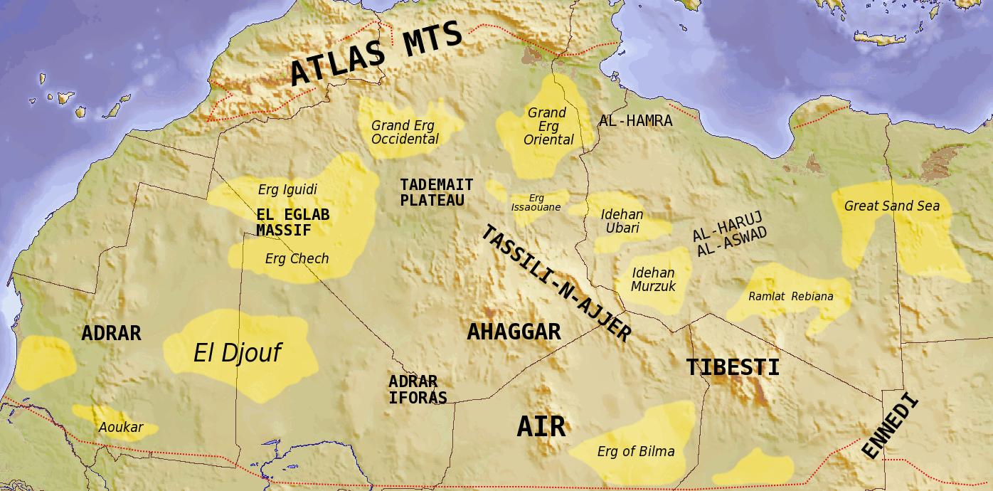 Desierto Del Sahara Mapa.Saharan Topographic Elements Map Desierto Del Sahara