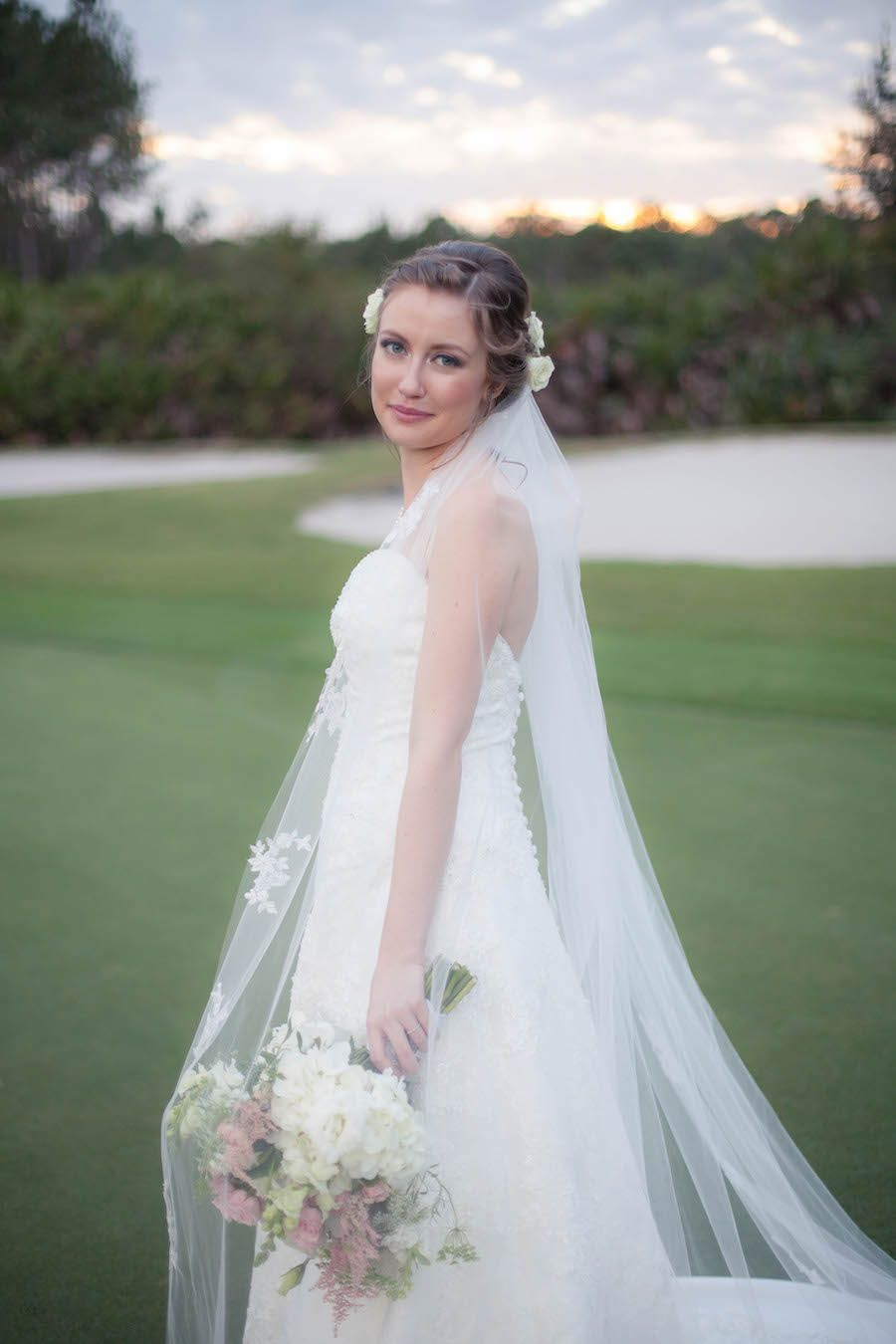 Bridal Wedding Portrait In Ivory Alfred Angelo Dress With Lace Overlay And Pink