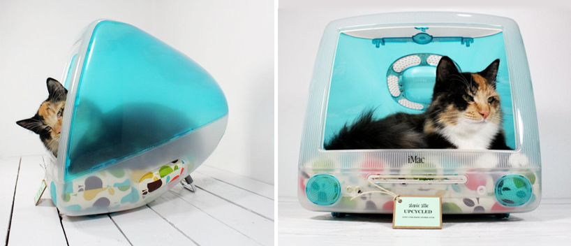upcycled imac computer turned pet bed by atomic attic - designboom   architecture & design magazine