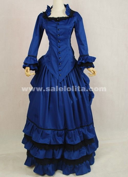 New Arrival Blue Medieval Renaissance Long Sleeve Victorian Bustle ...