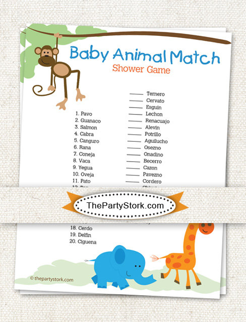 spanish baby shower game baby animal match safari by thepartystork 7