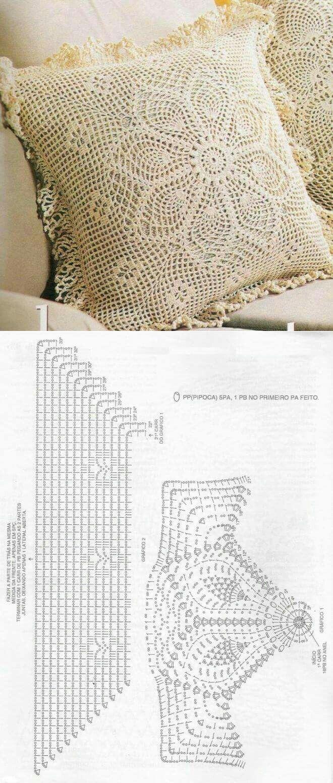 Almofadas de crochê   tejidos   Pinterest   Tejido, Ganchillo y Colchas