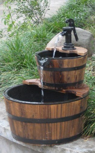 Wood Barrel With Pump Outdoor Water Fountain Gift