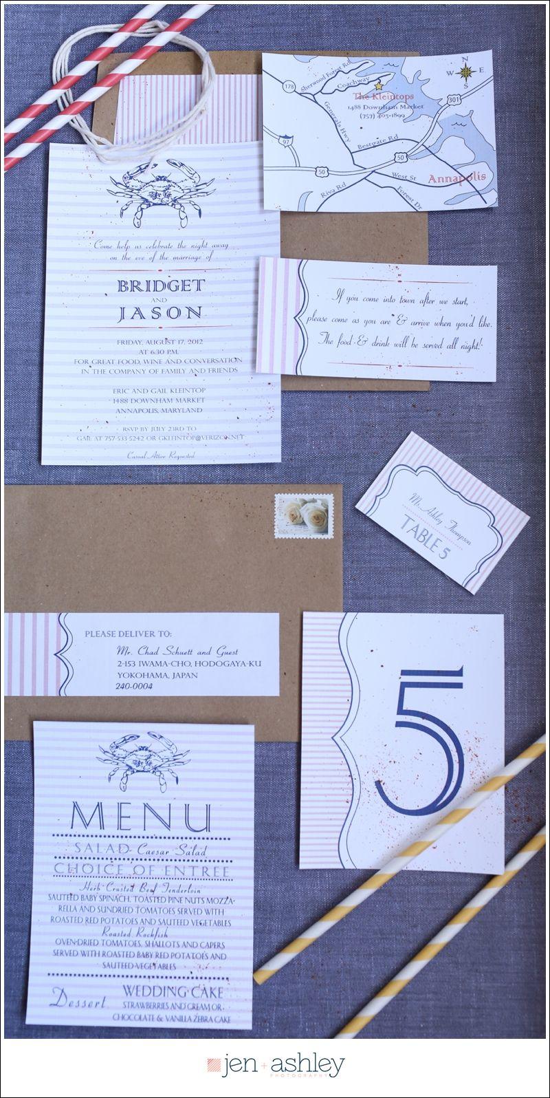 Crab themed Wedding Invites-April Foster + PaperDolls Design. Jen + ...