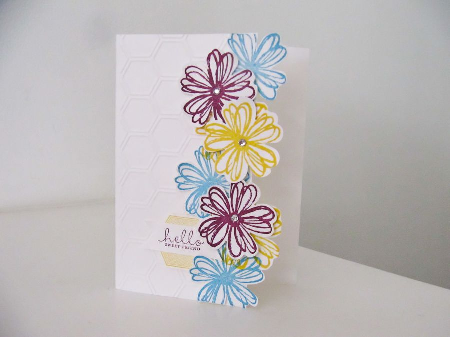 stampin up flower shop and punch card ideas | cascading flowers card was designed with the Stampin Up Flower Shop ...