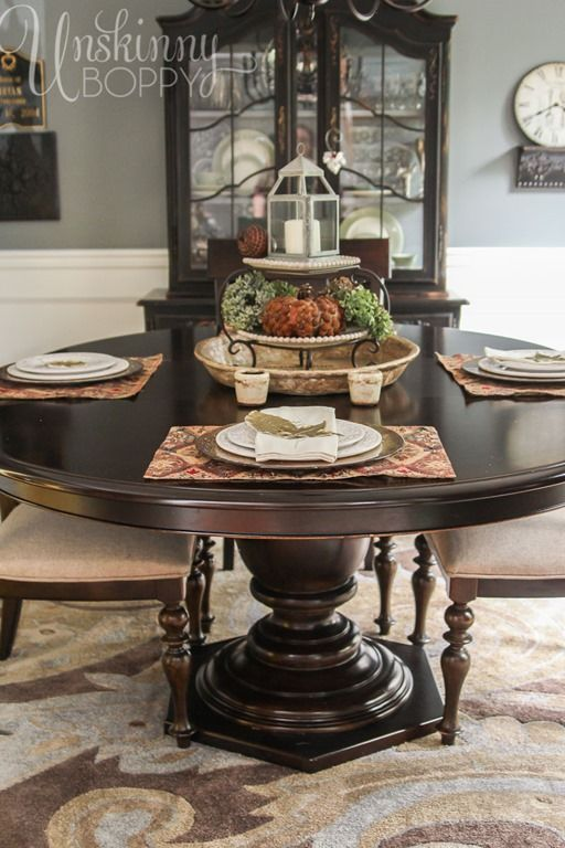 Round Dining Room Table Dark Wood Against The Slate Blues