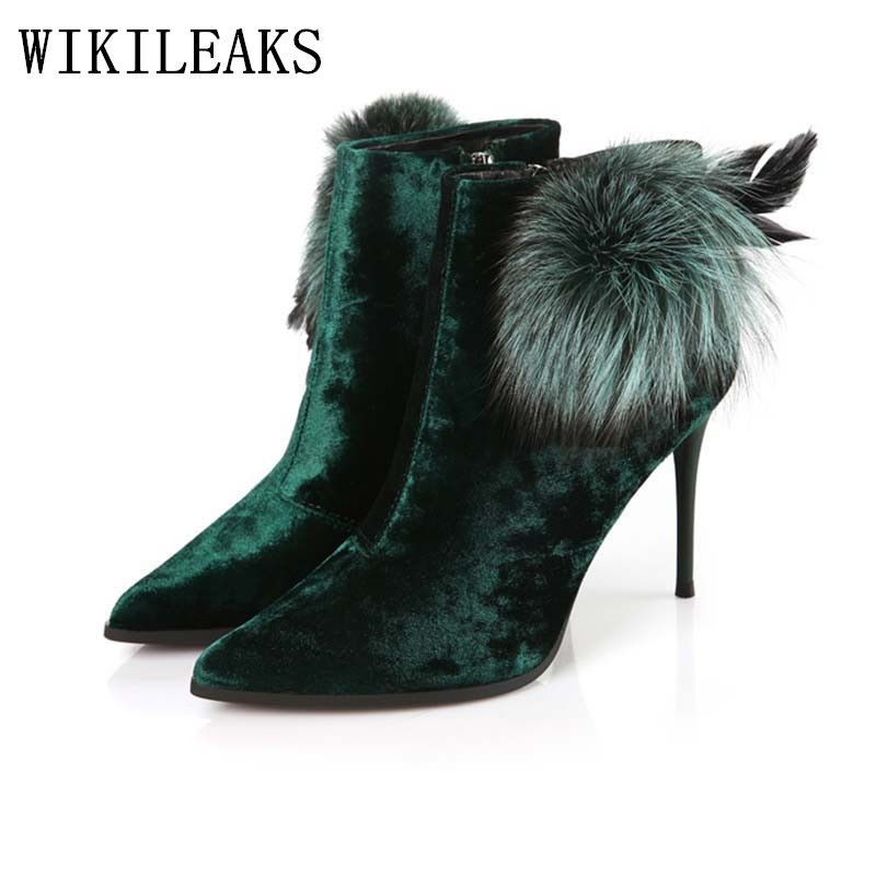 ladies feather high heel boots ankle boots for women winter boots fetish high  heels velvet boots 1a474442479e