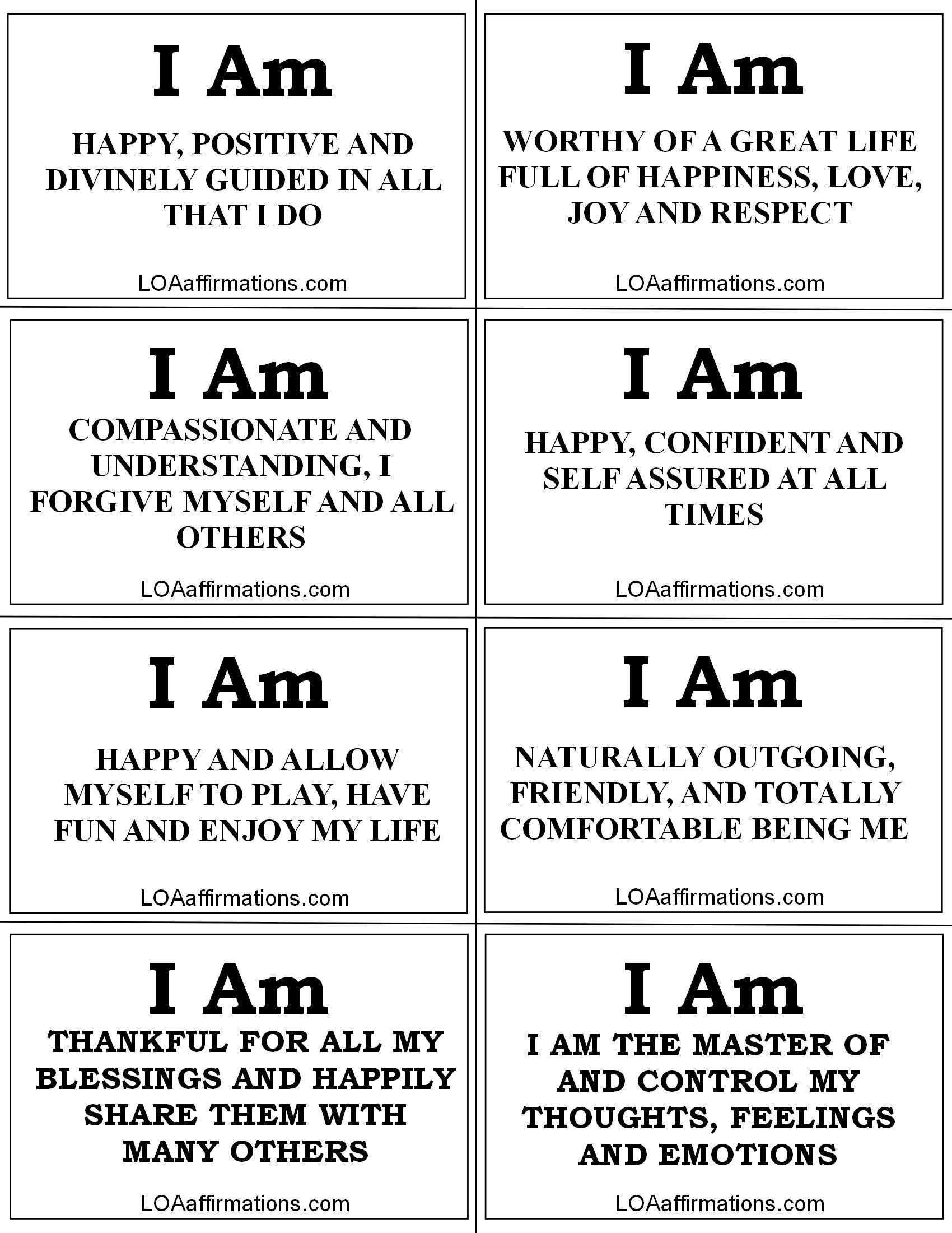 Refreshing image within printable affirmations
