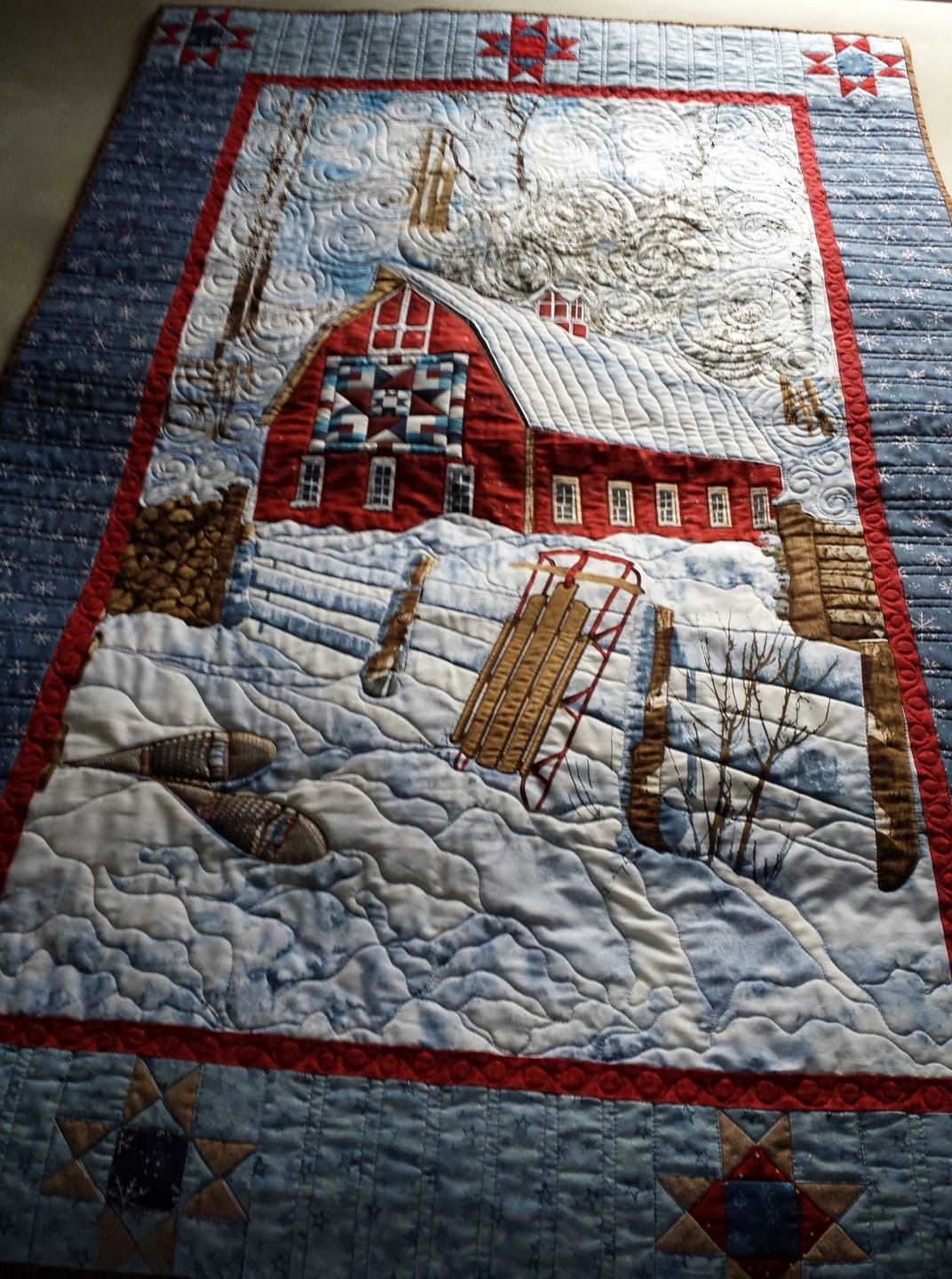 Winter farm scene. Red barn in the snow with old sled. Quilt Artist ...