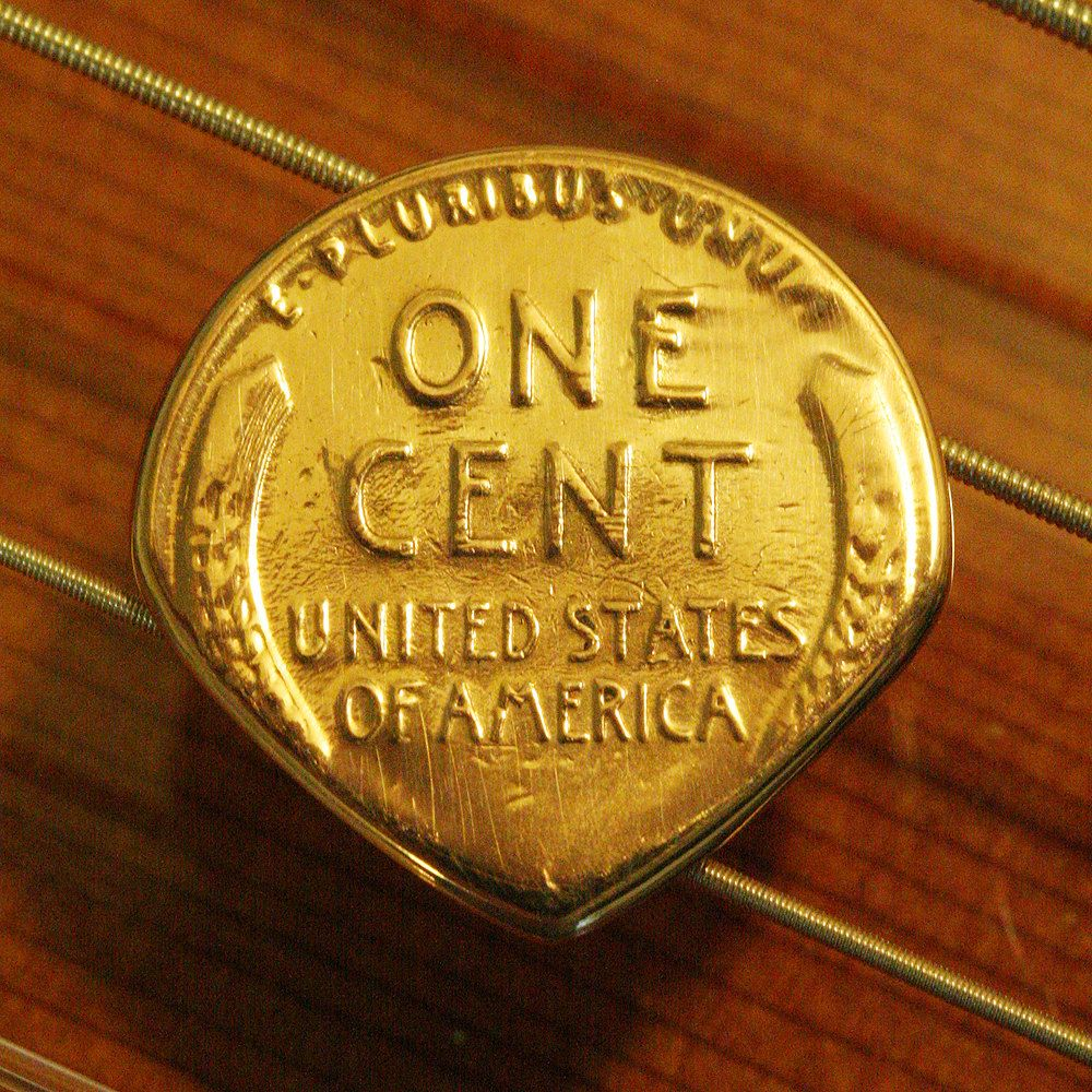 Antique USA Wheat Penny Coin Guitar Mandolin Pick Free Worldwide Shipping
