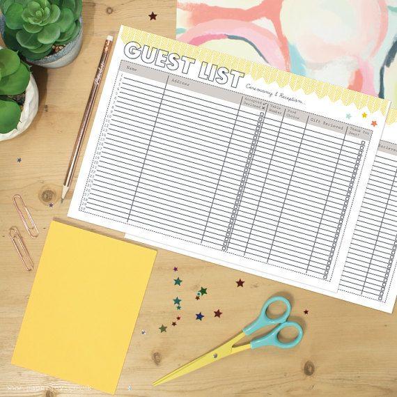 Wedding Guest List Planner Printable By Paperjoyuk On Etsy  Paper