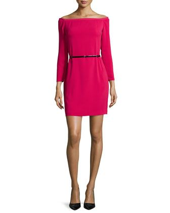 Off-The-Shoulder Belted Cocktail Dress, Ruby by Halston Heritage at Neiman Marcus.