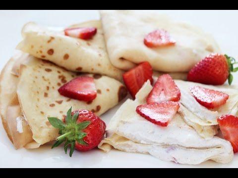 LOW FAT  Pfannkuchen mit Erdbeerencreme Frühstück   Muskelaufbau schnell zubereitet - YouTube