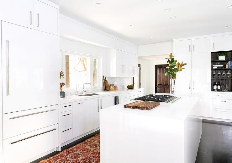 Best Gorgeous White Kitchen Features White Flat Front Cabinets 640 x 480