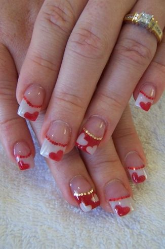 Colour Acrylic French Hearts By Andreastacey Nail Art Gallery