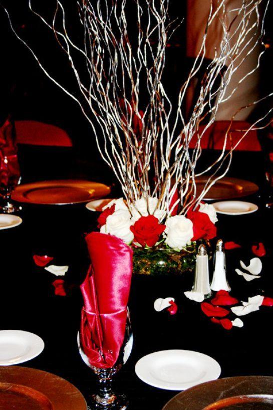Wedding Centerpieces Red Black White Wedding Centerpieces