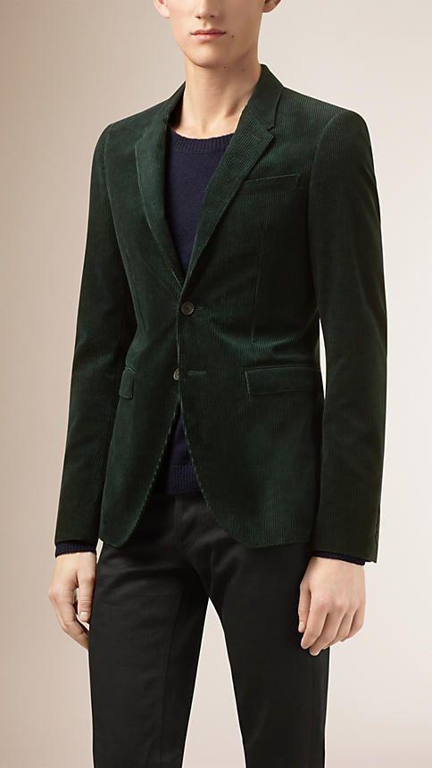 Verde pino Chaqueta de vestir ajustada en pana - Imagen 1  d3b52245860