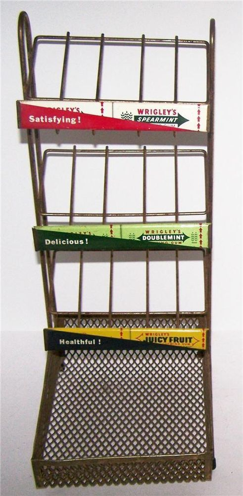 4040 Vintage Metal Wrigley's Chewing Gum Three Tier Standing Stunning Wrigley's Chewing Gum Display Stand