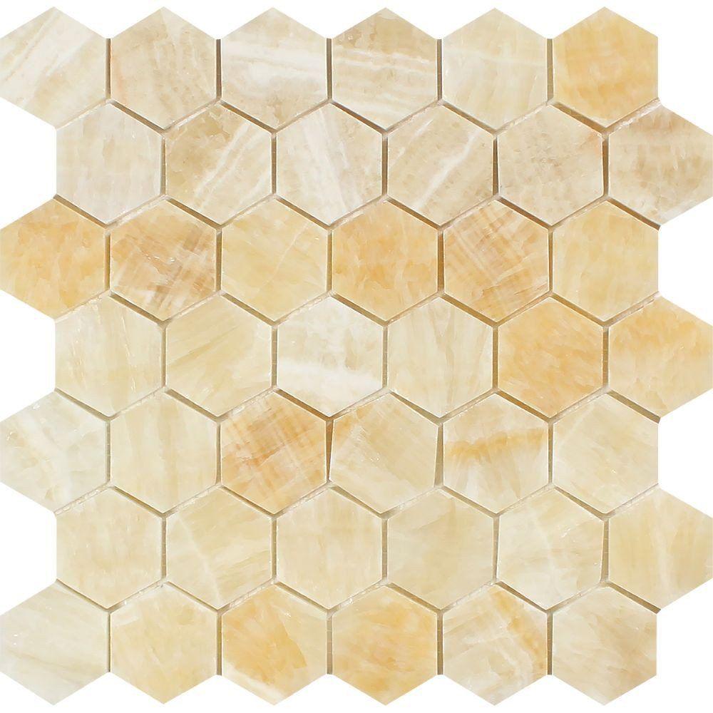 2 X Polished Honey Onyx Hexagon Mosaic Tile