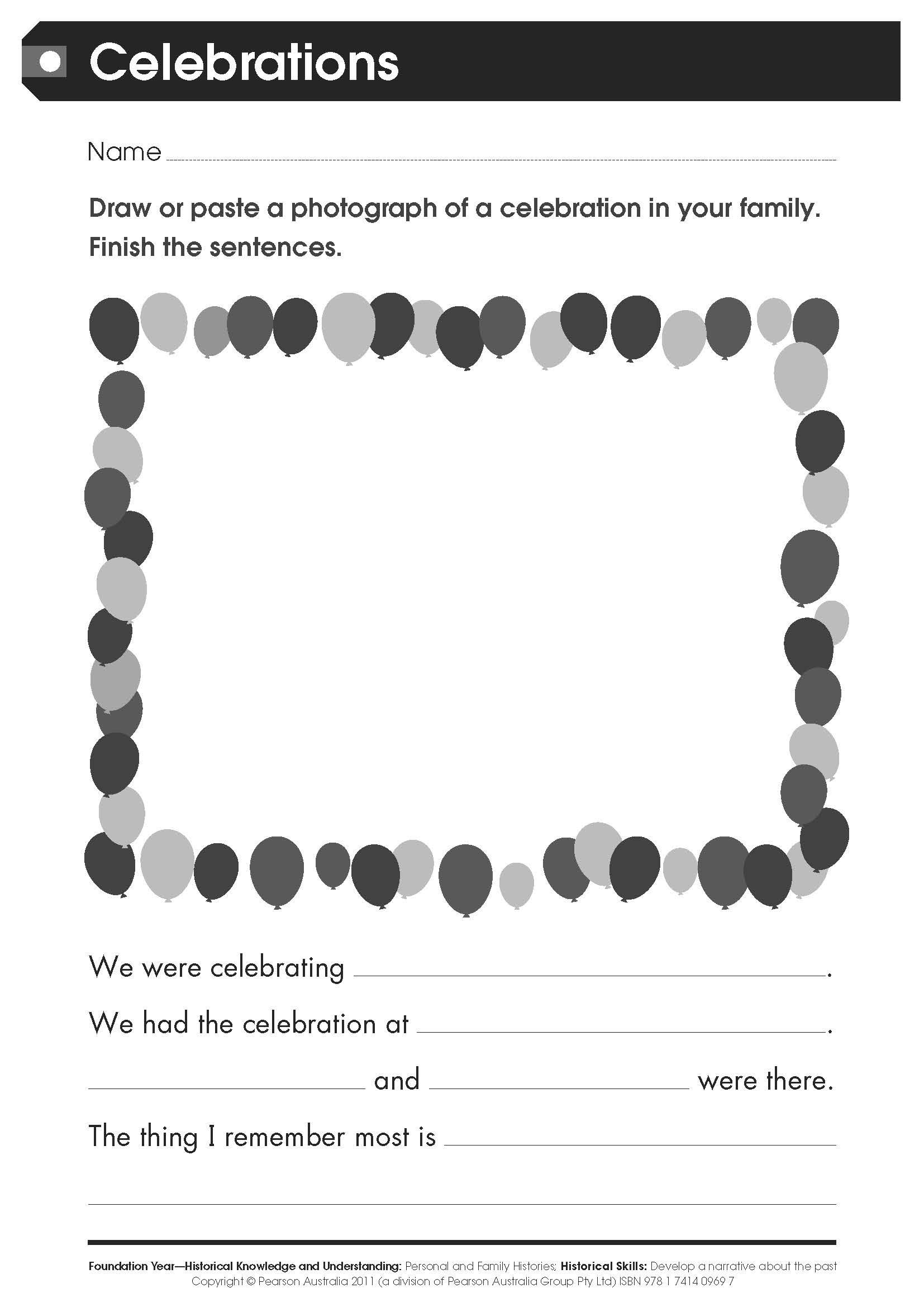 Free Worksheet Celebrations For Lower Primary Students This Worksheet Has Been Taken From Pearson Places Hi Primary History Primary Students Worksheets Free [ 2339 x 1654 Pixel ]