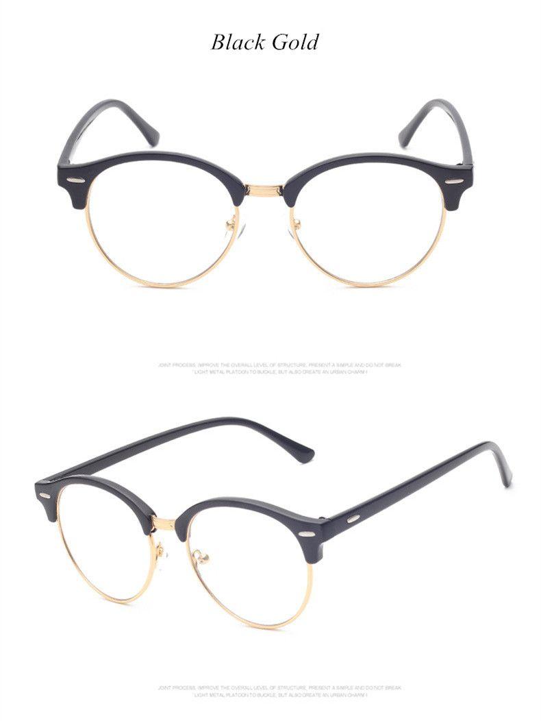 1aec30ffbc9 Brand Fashion Half Frame Male Eyeglasses Women Vintage Round Men Eye  Glasses Frame Optical Spectacle Frame Prescription Eyewear Like and share  if you think ...