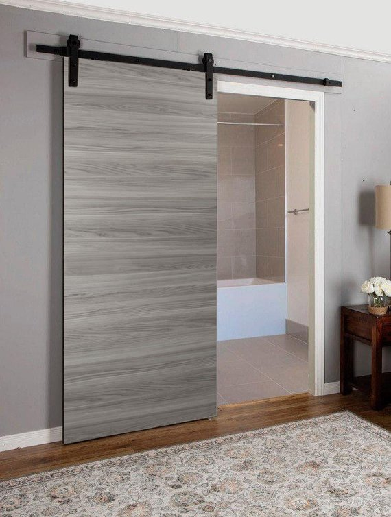 Sliding Barn Door Grey With Rail 6 6ft Planum 0010 Ginger Ash Sturdy Brackets Track Wheels Sol Interior Barn Doors Barn Door Designs Modern Door