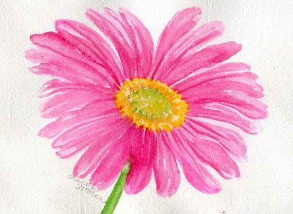 Pink Gerbera Daisy Painting Pink Gerber Daisy By Sharonfosterart