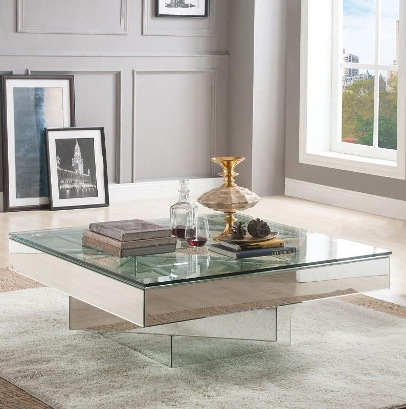Acme Meria Coffee Table In 2020 Mirrored Coffee Tables Coffee