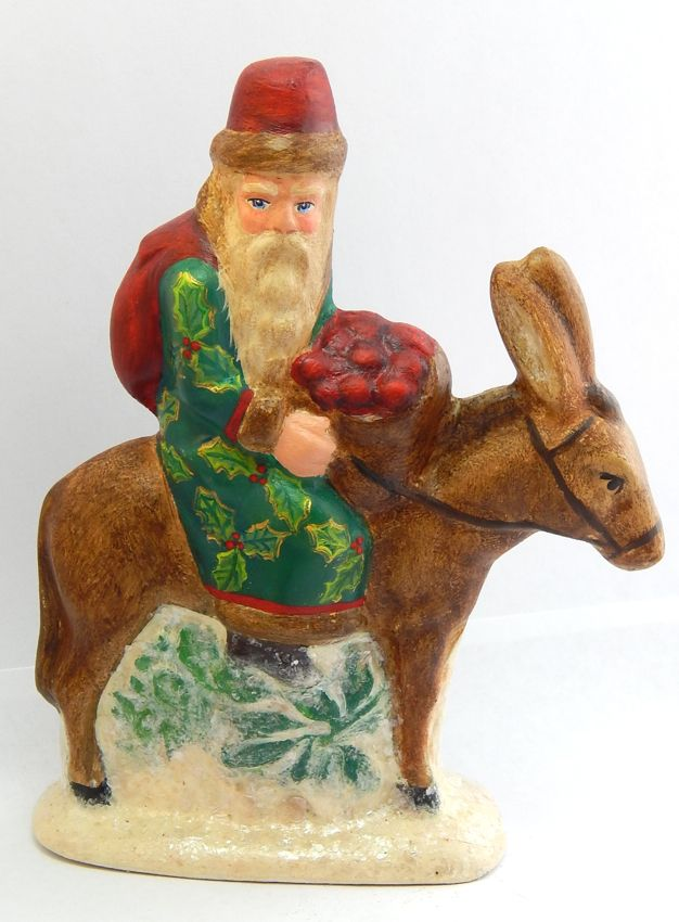Chalkware Belsnickle Santa made from an antique chocolate mold | Bittersweet House Folk Art www.bittersweethouse.com