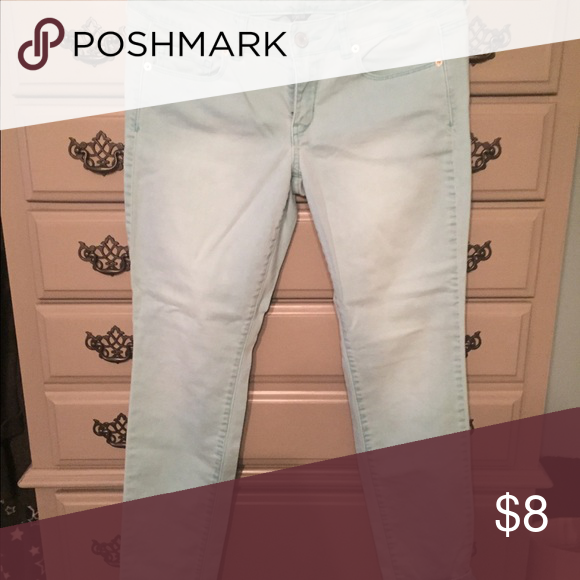 Skinny jeans.. American Eagle Light greenish blue. Perfect condition. American Eagle Outfitters Jeans Skinny