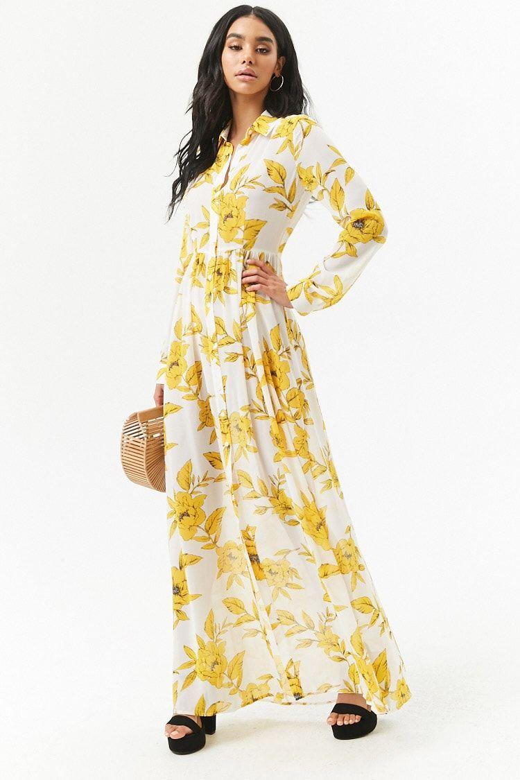 1e3de297166 Product Name Sheer Floral Chiffon Maxi Shirt Dress