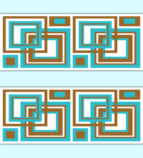 Geometric Wallpaper Border Turquoise Brown Square Wall Art Decals Blue Room Abstract Minimalist Patte Square Wall Art Geometric Wallpaper Border Decal Wall Art