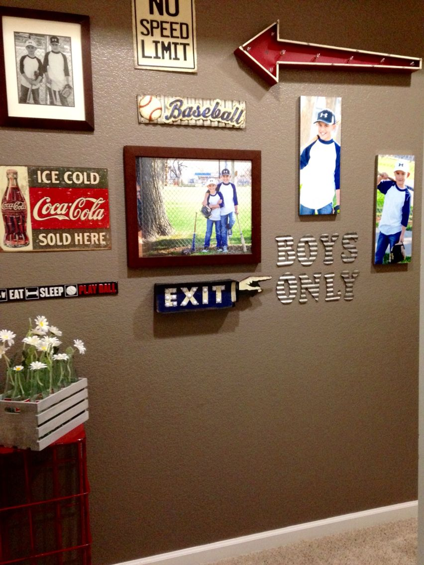 vintage baseball wall collage home decor in 2019 boys game room boys room decor baseball. Black Bedroom Furniture Sets. Home Design Ideas