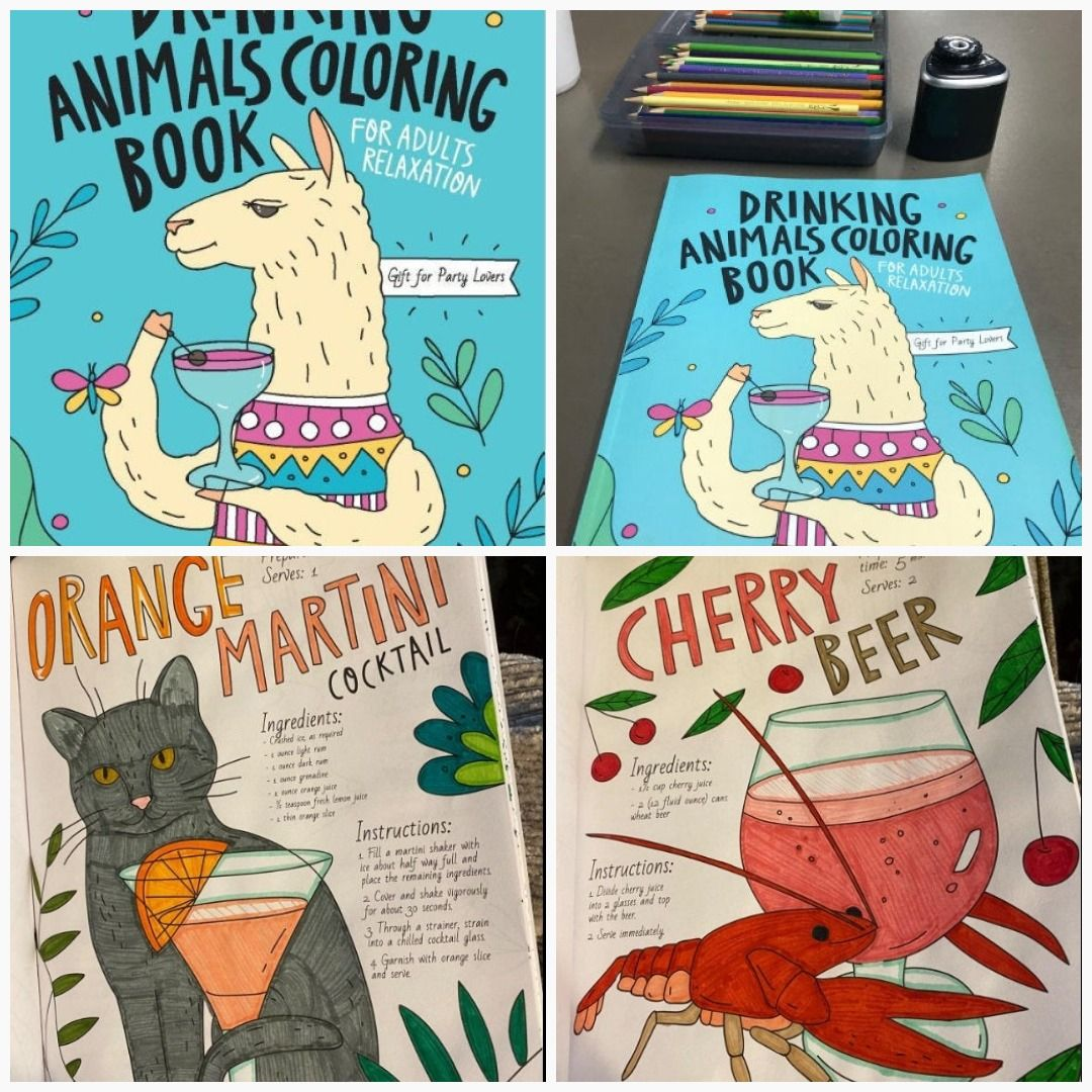 Drinking Animals Coloring Book A Fun Coloring Gift Book For Party Lovers Adults Relaxation With Str Funny Coloring Book Animal Coloring Books Coloring Books
