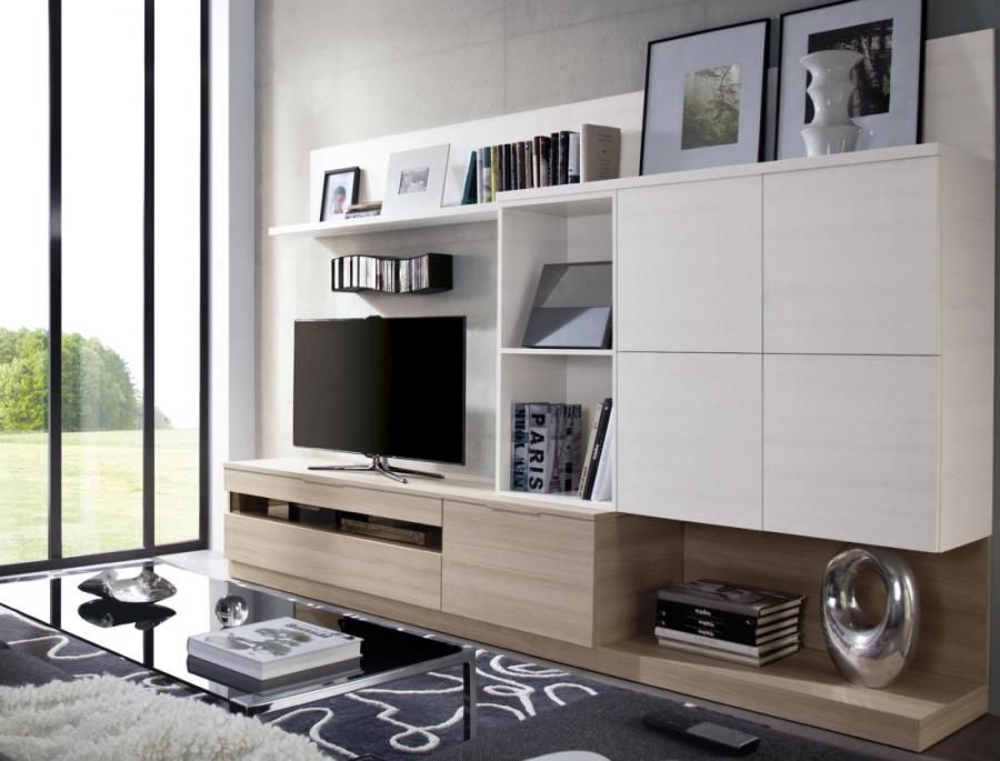 Contemporary Wall Storage System With Mounted Cabinets Large Tv Unit And Shelving