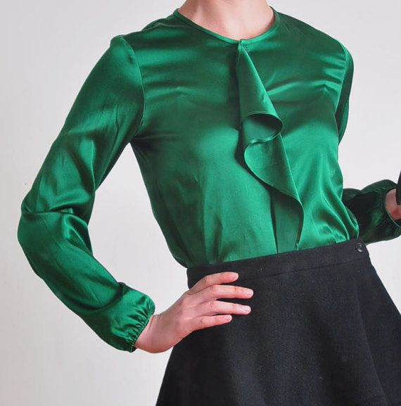 Emerald green pure silk satin ruffles long sleeves blouse for Emerald satin paint