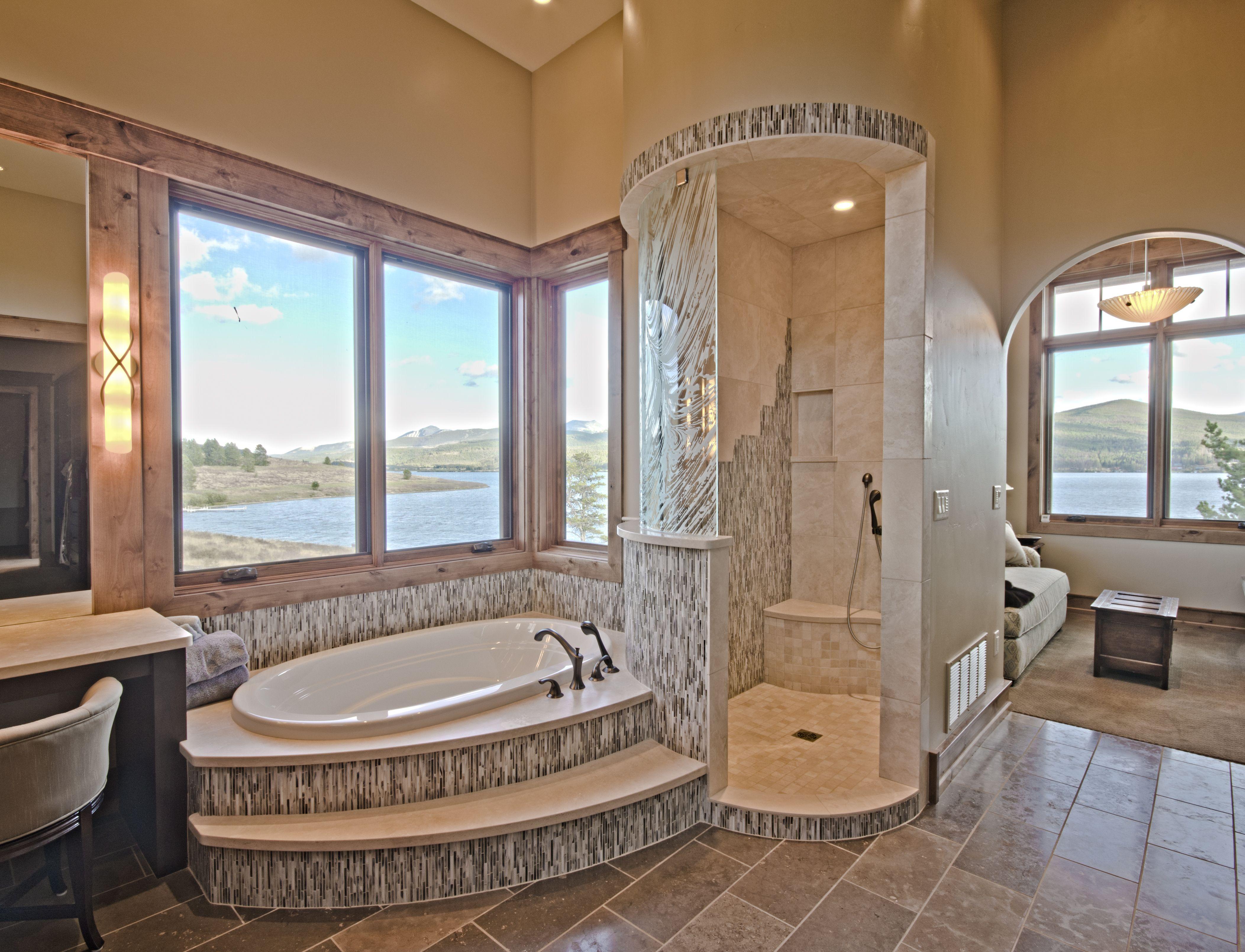 Modern Master Bathroom Tile Ideas: Shower AND Bath Tub In This Modern Bathroom. Another