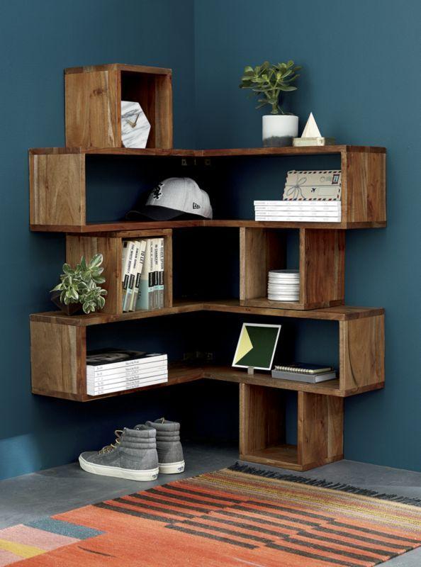 Corner Block Wood Shelf Cb2 Muebles De Esquina