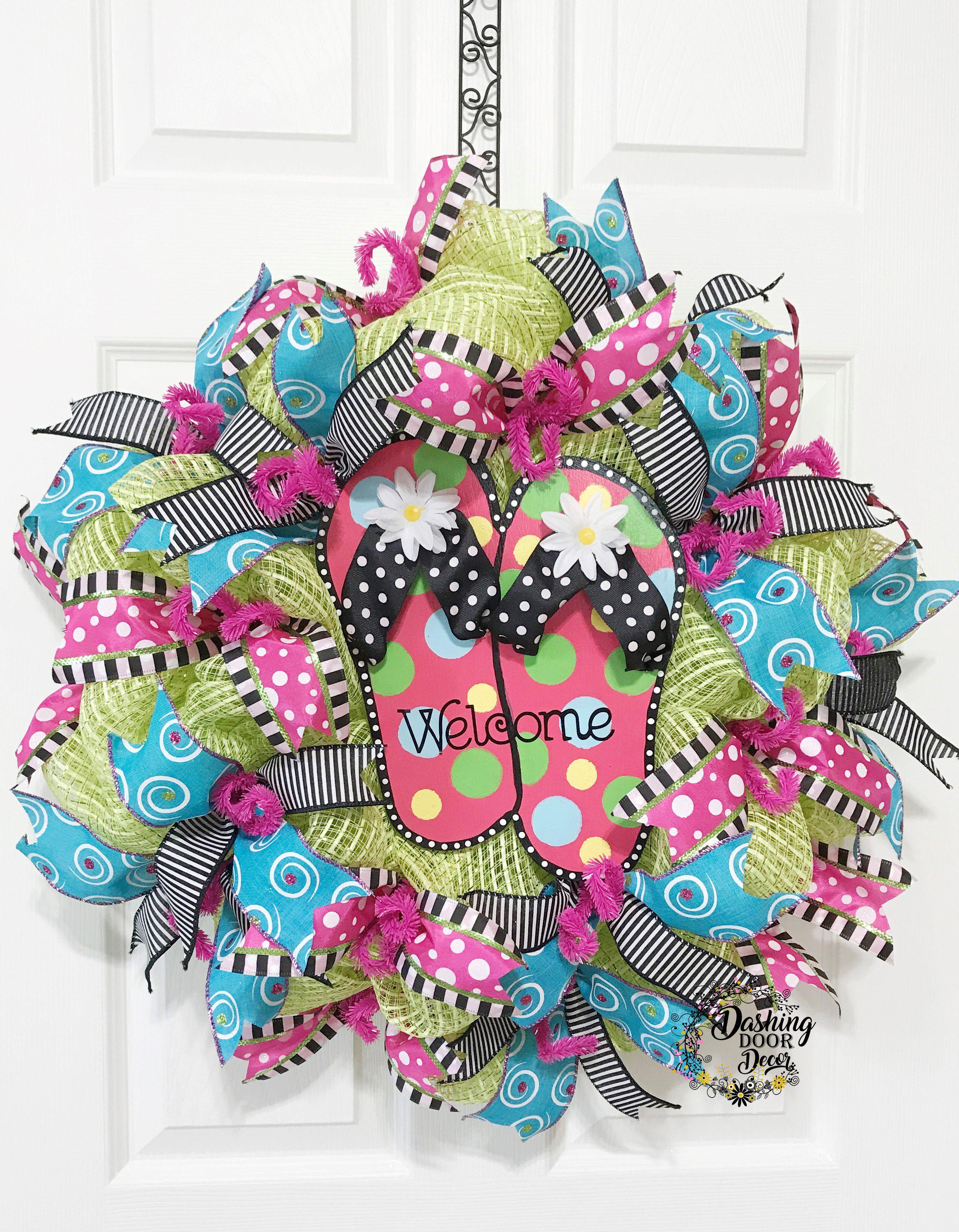 bb19d5e92 Summer Flip Flop Fun Deco Mesh Wreath  92