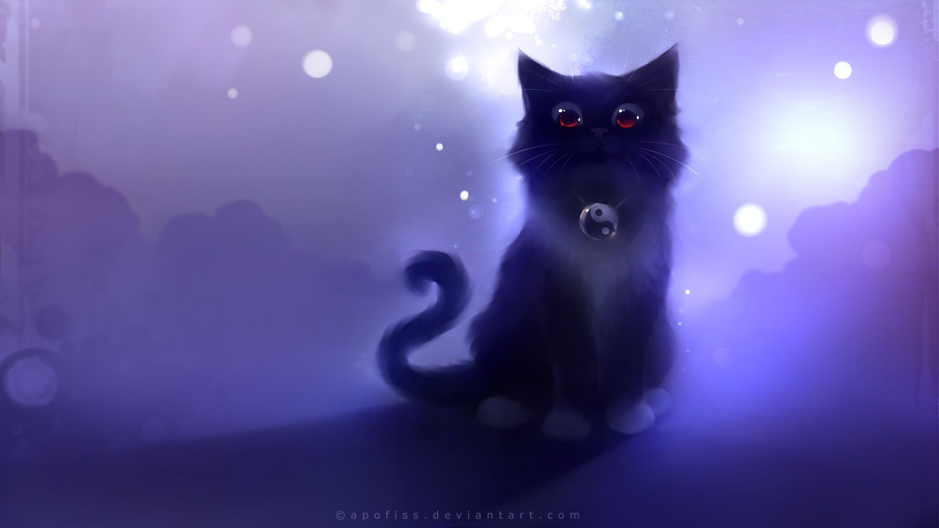 Download Wallpaper 1920x1080 Cat Black Drawing Night Apofiss